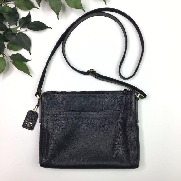 Fossil Handbags - Fossil Pebbled Black Leather Thin Crossbody Purse